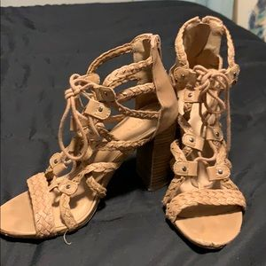 "Strappy 3"" nude heel. Merona brand; from Target."